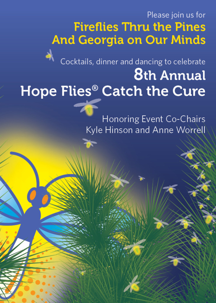 Our favorite bugs make a twinkling appearance in the pines for Hope Flies Catch the Cure 2017. Graphics were used consistently throughout all promotional materials, ads, invitations, posters, digital promotions, etc.