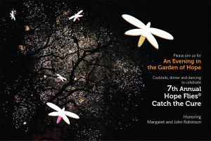 Inspired by fireflies in the trees, this photograph and graphic combination were carried throughout all communication pieces for the 2016 Hope Flies Catch the Cure.